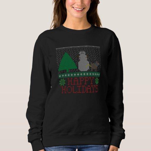 Happy Holidays Funny Dog Peeing Snowman Christmas T Shirt