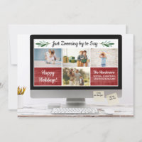 Happy Holidays Funny Zoom Quarantine Photo Collage Holiday Card