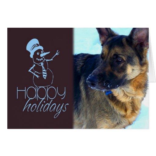 Happy Holidays German Shepherd in the Snow Card