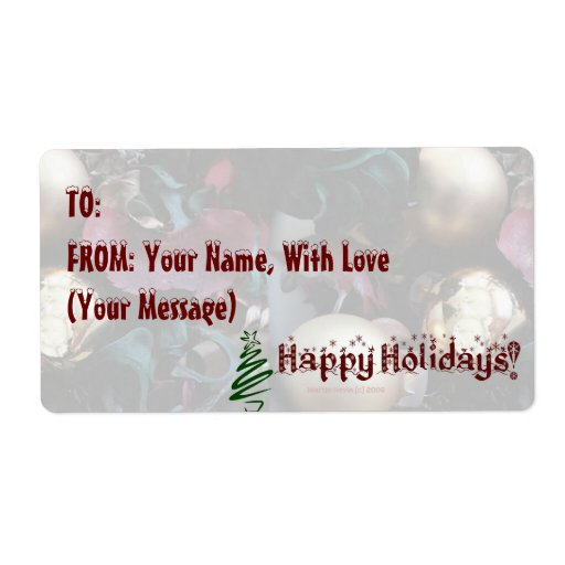 Happy Holidays Gift Tag/Avery Label - Customize