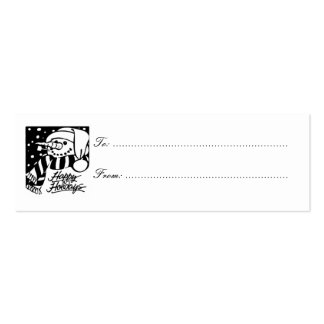 Happy Holidays Gift Tag, black & white snowman Double-Sided Mini Business Cards (Pack Of 20)