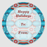 Happy Holidays gift tag Round Stickers