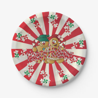 Happy Holidays Gingerbread Couple Paper Plate