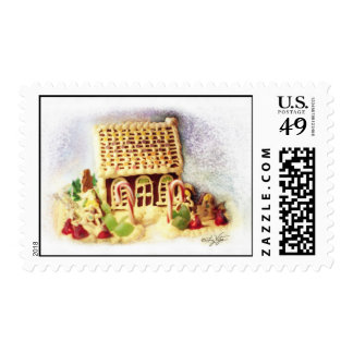 Happy Holidays Gingerbread House Postage