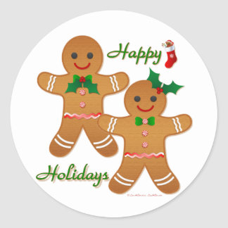 Happy Holidays Gingerbread Man Boy Girl Classic Round Sticker