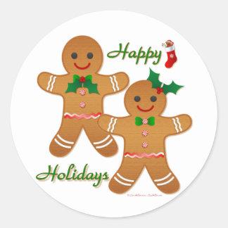 Happy Holidays Gingerbread Man Boy Girl Classic Round Sticker