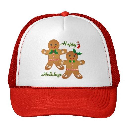 Happy Holidays Gingerbread Man Boy Girl Mesh Hats
