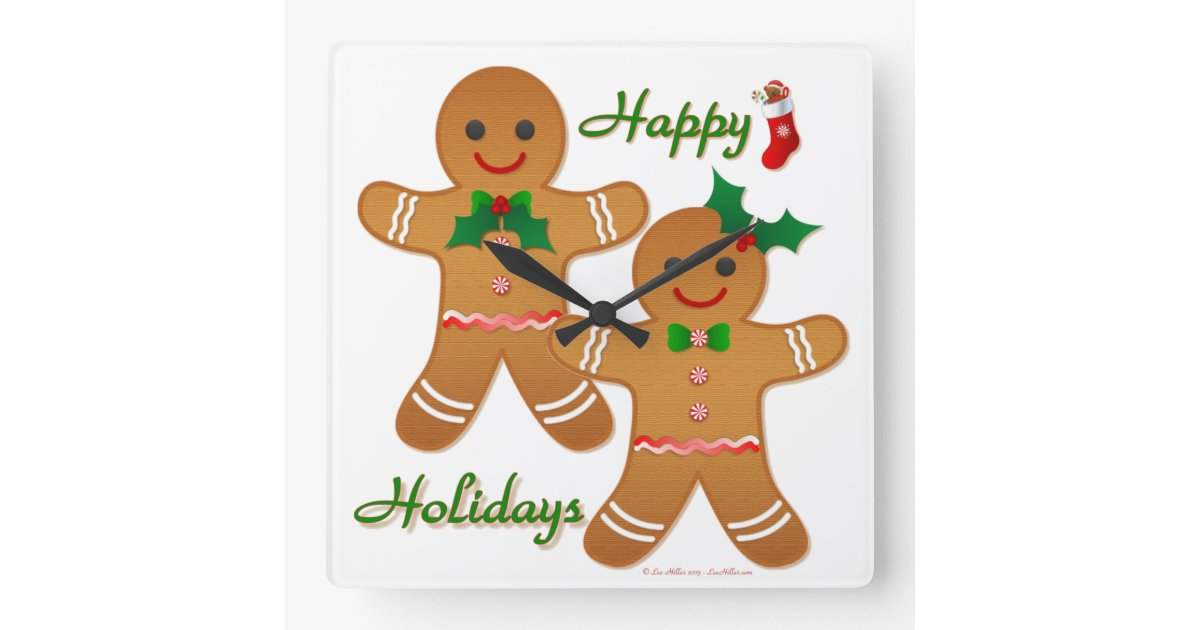 Happy Holidays Gingerbread Man Boy Girl Square Wall Clock