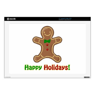 """Happy Holidays Gingerbread Man Decal For 17"""" Laptop"""
