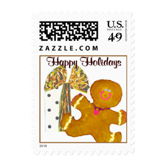 Happy Holidays Gingerbreadman & Gift Postage