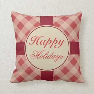 Happy Holidays Gingham  Pillow