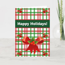 Happy Holidays Gingham Red and Green Holly Bows Holiday Card