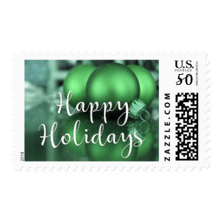 Happy Holidays Glass Ornaments Green-Toned Photo Postage