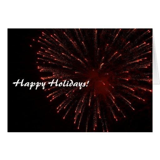 Happy Holidays Glitter Fireworks Stationery Note Card