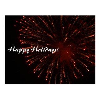 Happy Holidays Glitter Fireworks Postcard