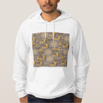 Happy Holidays Gold and Champagne Pattern Hoodie