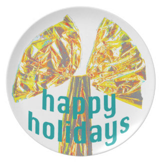 Happy Holidays Gold Bow Dishes
