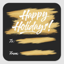 Happy Holidays Gold Brush Stroke Gift Label