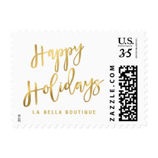 Happy Holidays Gold Brushstroke Script Typography Postage at Zazzle