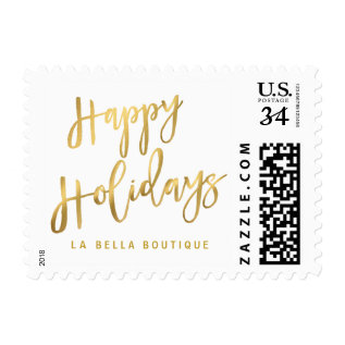Happy Holidays Gold Brushstroke Script Typography Postage at Zazzle