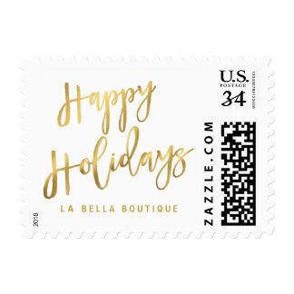 Happy Holidays Gold Brushstroke Script Typography Postage