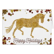 Happy Holidays Gold Dressage Horse Greeting Card