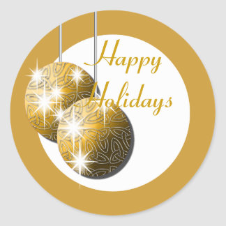 Happy Holidays gold family business Classic Round Sticker