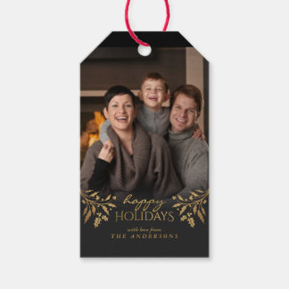 Happy Holidays Gold Foil Christmas Holly Photo Tag