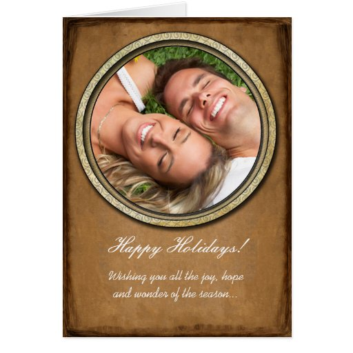 Happy Holidays Gold Frame Your Photo Card