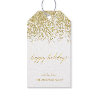 Happy Holidays gold glitter gift tags