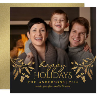 Happy Holidays Gold Holly Photo Flat Card