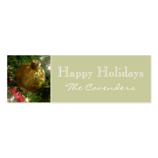 Happy Holidays Gold Ornament Christmas Tags Double-Sided Mini Business Cards (Pack Of 20)
