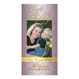 Happy Holidays Gold Ribbon Bronze Foil Photo Card