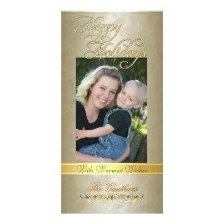 Happy Holidays Gold Ribbon Gold Foil Photo Card