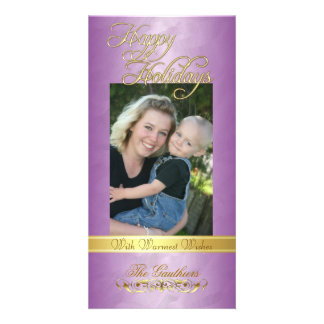 Happy Holidays Gold Ribbon Pink Foil Photo Card