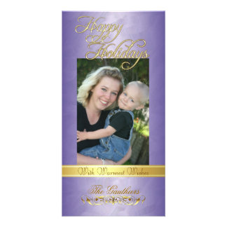 Happy Holidays Gold Ribbon Purple Foil Photo Card