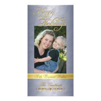 Happy Holidays Gold Ribbon Silver Foil Photo Card