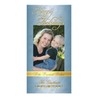 Happy Holidays Gold Ribbon Teal Foil Photo Card