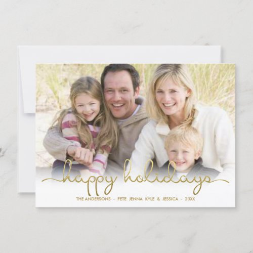 Happy Holidays Gold Script Lettering Photo Card