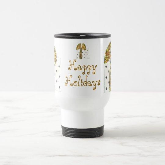 Happy Holidays Gold Sparkle Travel Mug