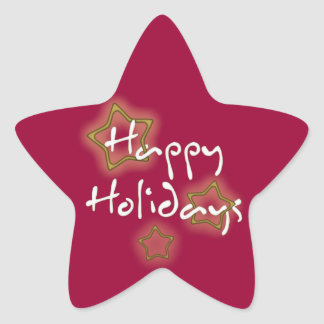 Happy Holidays Gold Stars Star Sticker