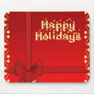 Happy Holidays golden stars red design Mouse Pad
