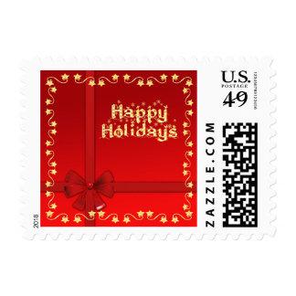 Happy Holidays golden stars red design Postage