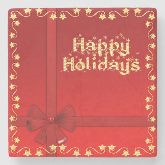 Happy Holidays golden stars red design Stone Coaster