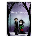 Happy Holidays Goth Couple Greeting Card