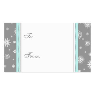 Happy Holidays Gray Snowflakes Gift Tags Business Card Templates