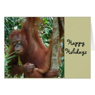Happy Holidays Great Ape Art Greeting Card