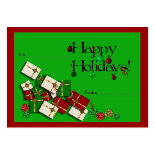 happy holidays green and festive gift tag business