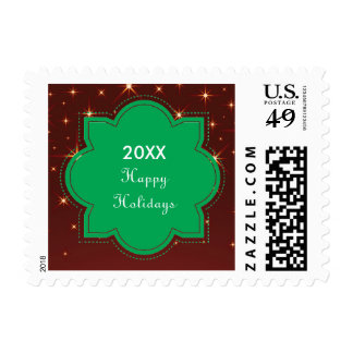 Happy Holidays Green Banner - Postage Stamp