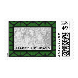 happy holidays green black photoframe postage